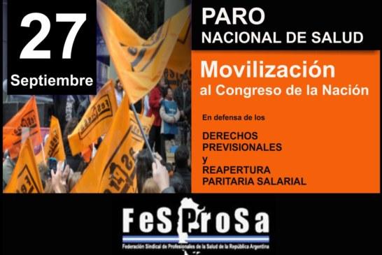 PARO NACIONAL DE SALUD // 27 SEPTIEMBRE