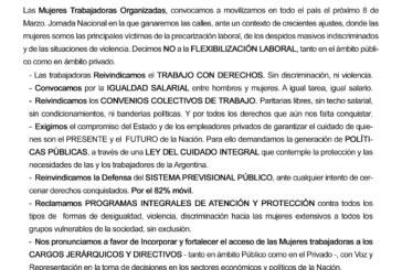 1857 – 8 de Marzo – 2017 // Día Internacional de las Mujeres Trabajadoras – Movilización Nacional en Unidad
