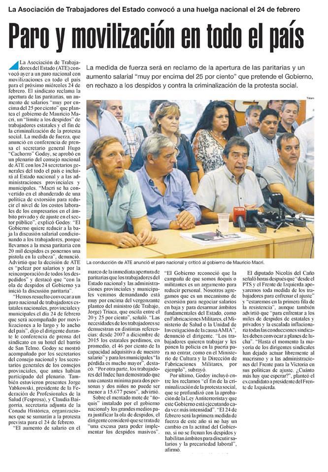 LA ASOCIACIÓN DE TRABAJADORES DEL ESTADO CONVOCO A UNA HUELGA NACIONAL EL 24 DE FEBRERO