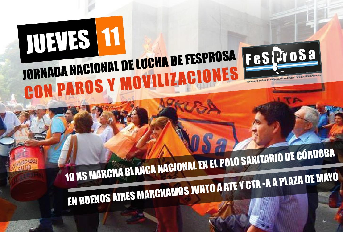 JUEVES 11-JORNADA NACIONAL DE LUCHA DE FESPROSA CON PAROS Y MOVILIZACIONES