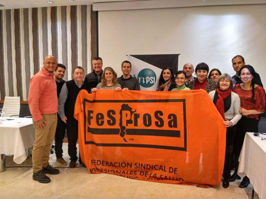 En la foto la delegación de FESPROSA con compañeros de CICOP,SIPRUS ( Rosario y Reconquista),Jujuy, Córdoba y Hospital Garrahan junto a Jocelio Drumond secretario general de ISP Américas y Paulina Acevedo, coordinadora de la plataforma Chile mejor sin TPP.