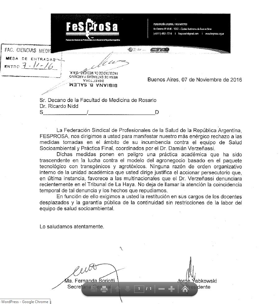 FESPROSA RECHAZA LA PERSECUCIÓN CONTRA EL DR. VERZEÑASSI