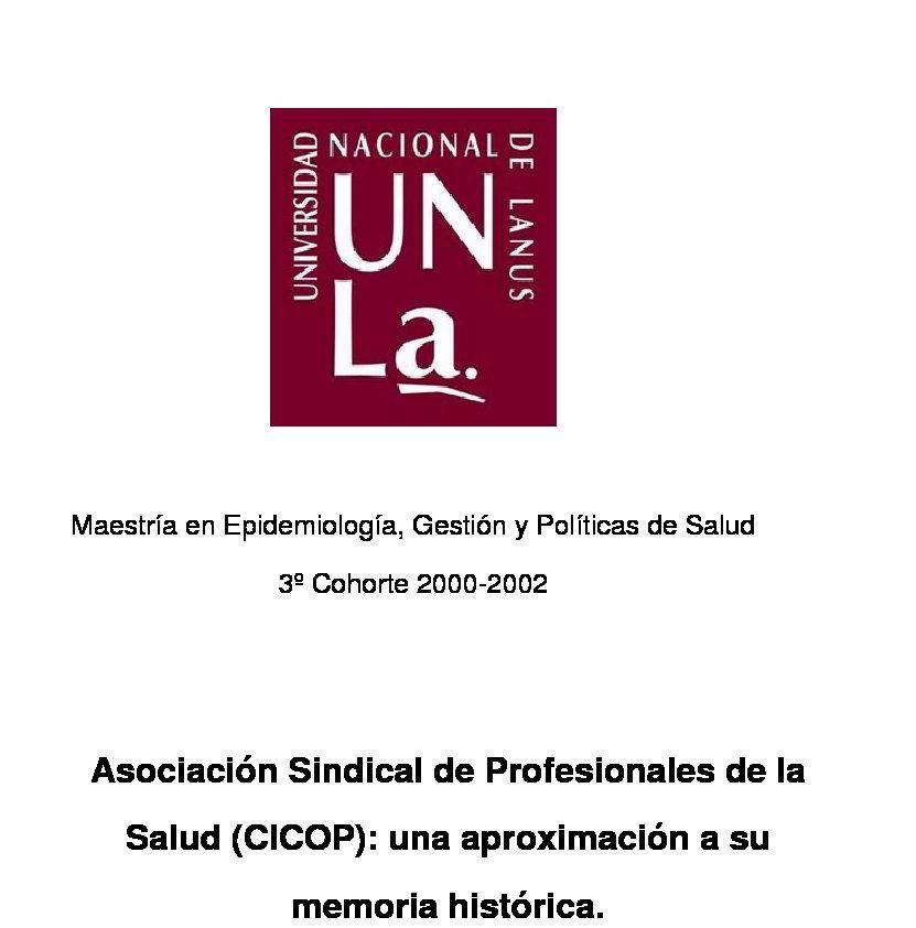 Maestría en Epidemiología, Gestión y Políticas de Salud 3º Cohorte 2002-2002
