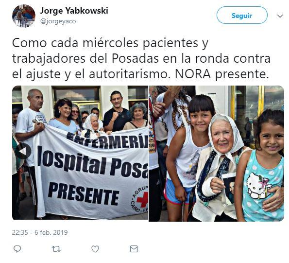 Jorge Yabkowski (@jorgeyaco) twitteó: En la ronda contra el ajuste y el autoritarismo. NORA presente