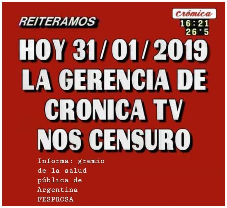 CENSURA EN CRÓNICA TV