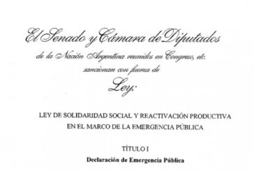 LA FESPROSA FRENTE A LA LEY DE SOLIDARIDAD SOCIAL Y REACTIVACIÓN PRODUCTIVA EN EL MARCO DE LA EMERGENCIA PÚBLICA