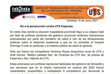 No a la persecución contra UTS Fesprosa