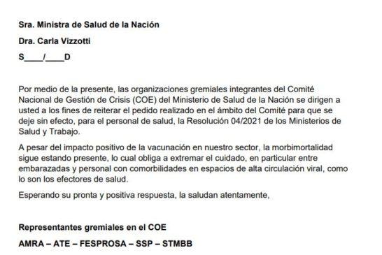Hoy sindicatos que participan en el Coe Nacional se dirigieron a la ministra Carla Vizzotti pidiendo la derogación de la resolución 04 para el personal de salud.